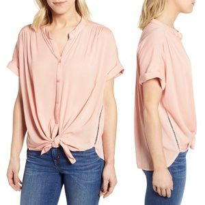 Caslon Peach Relaxed Short Sleeve Button Front Top